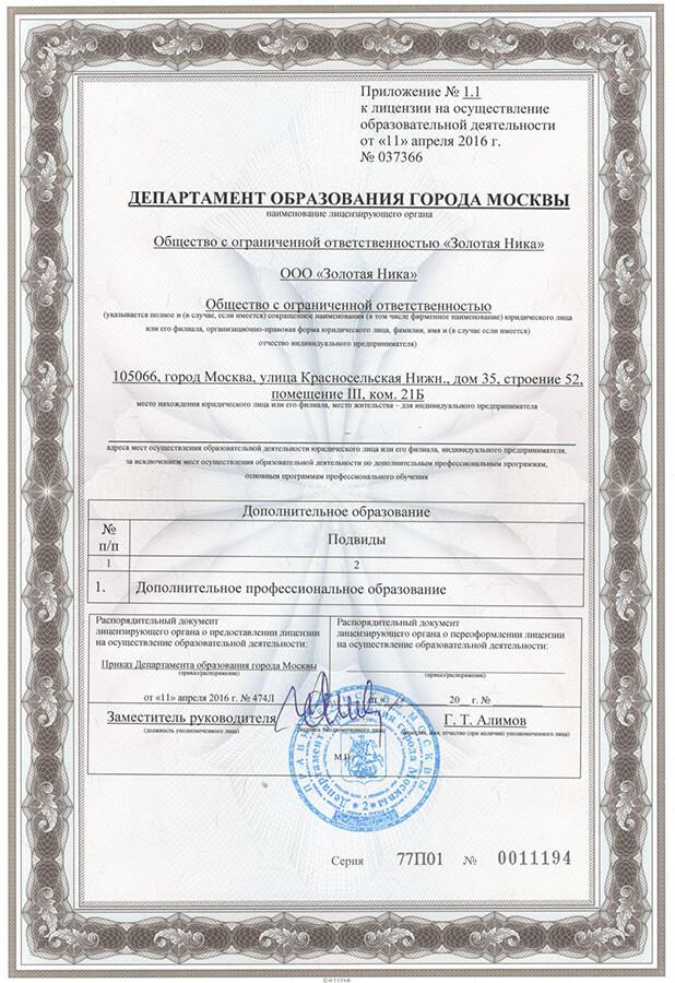 Приложение № 1.1 к лицензии на осуществлении образовательной деятельности № 037366